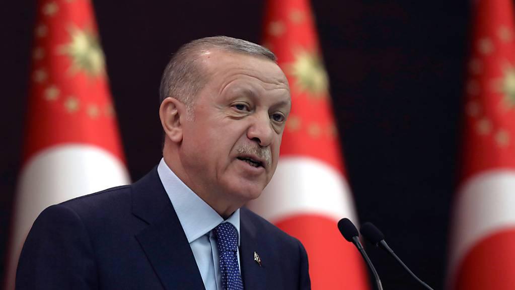 Recep Tayyip Erdogan, Präsident der Türkei, spricht während einer Pressekonferenz.