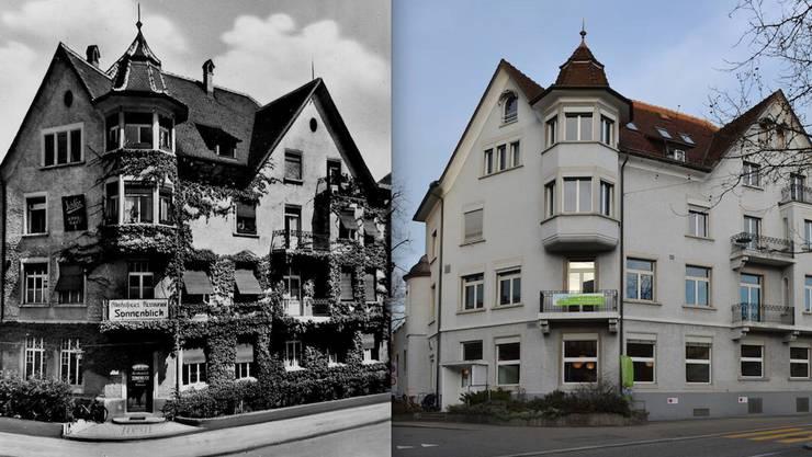 Links: Das Restaurant Sonnenblick war ein alkoholfreies Restaurant. Rechts: Anfang Jahr ist das Familienzentrum der Region Baden Karussell in das Haus an der Haselstrasse 6 eingezogen. badengesternundheute