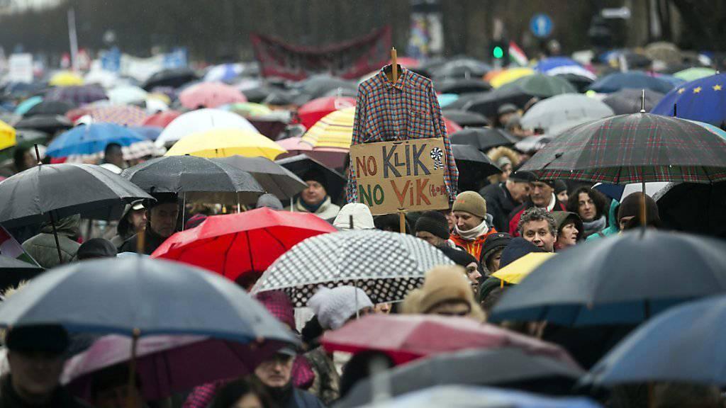 Dem Regen getrotzt: Tausende gingen in Budapest gegen die Bildungsreform der Regierung auf die Strasse.