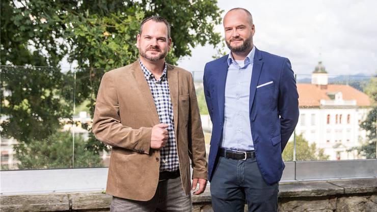 Nils Hunziker (links) und Michael Fretz stehen kurz vor der Neugründung der FDP-Ortspartei Muhen. Claudio Thoma