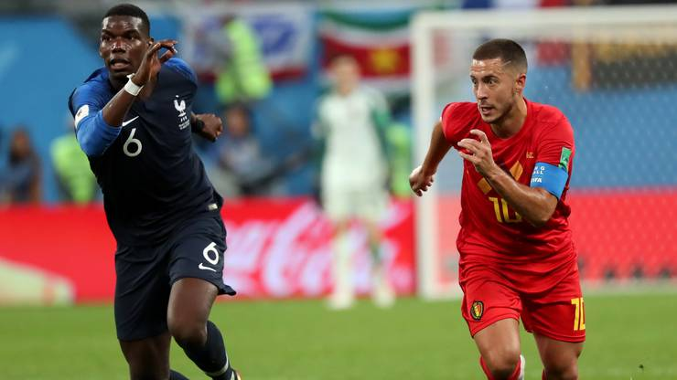 """Die """"echte"""" Nummer 10: Eden Hazard (rechts) im WM-Halbfinal 2018 gegen Frankreich."""