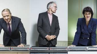 Die drei (Alt) Bundesräte Adolf Ogi, Moritz Leuenberger und Doris Leuthard waren massgeblich am Projekt Gotthard beteiligt