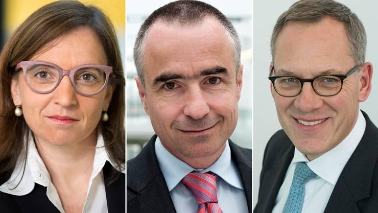 CSS-Chefin Philomena Colatrella, Helsana-Chef Daniel Schmutz und Assura-Chef Ruedi Bodenmann (von links).