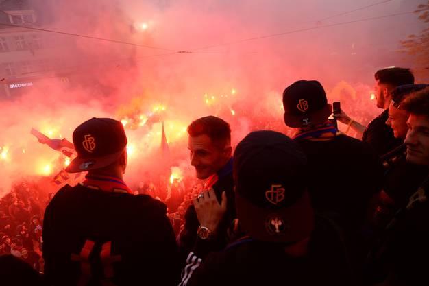 So sieht es auf dem Barfi aus, wenn der FCB seine Titel feiert.