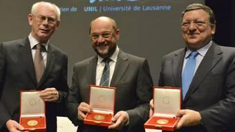 Van Rompuy, Schulz und Barroso (von links) in Lausanne