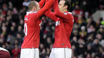 Doppel-Torschütze Berbatov (r.) und Rooney können doch noch jubeln