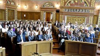 Im Basler Rathaus wurden die Schüler aus Massachusetts empfangen