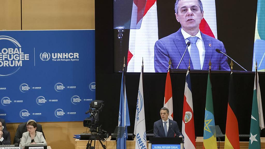 Aussenminister Ignazio Cassis bei der Eröffnung des Globalen Flüchtlingsforums in Genf. (KEYSTONE Fotograf: SALVATORE DI NOLFI)