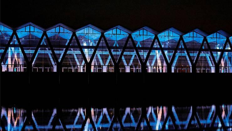 Die Licht-Klang-Installation ist noch bis Oktober in der Maschinenhalle des Kraftwerks Birsfelden zu bestaunen.