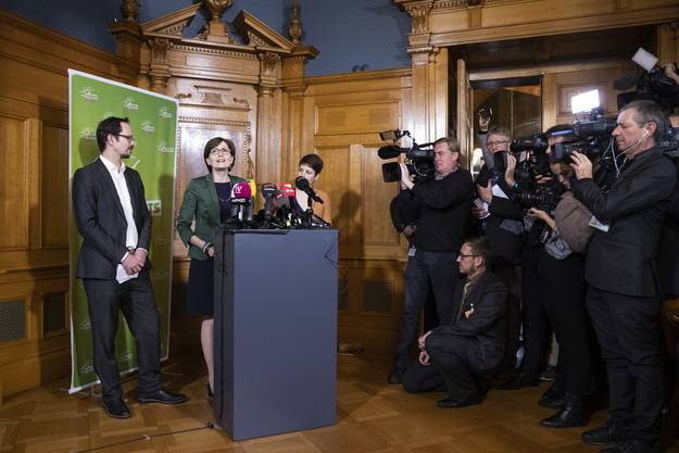 Vor der Bundesratswahl vom 11. Dezember 2019 (von links): Fraktionschef Balthasar Glättli, Präsidentin Regula Rytz, Vizepräsidentin Lisa Mazzone.