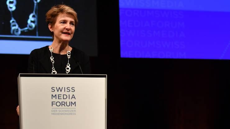 Bundesrätin Simonetta Sommaruga trat am Donnerstag am Swiss Media Forum in Luzern auf.