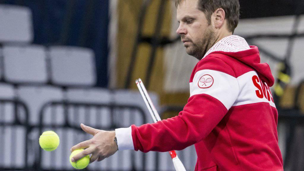Das Schweizer Davis-Cup-Team (im Bild Captain Severin Lüthi) ist für den kommenden Wettbewerb als Nummer 5 gesetzt
