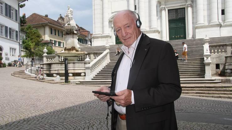 Dieter Bedenig unterwegs mit dem am Museumstag erstmals vorgestellten iGuide.