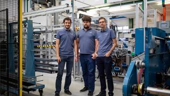 Erfolgreiches Führungstrio der Swiss PV AG (v. l.): Daniel Sägesser, Markus Gisler und Terence Haenni.