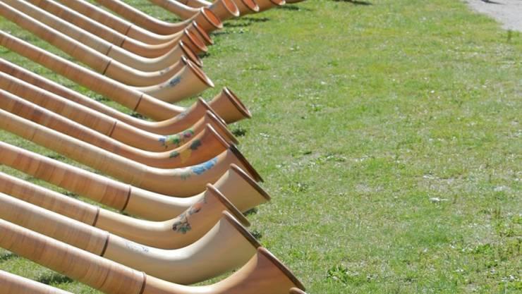 Alphörner, so weit das Auge reicht. Mit gleich 420 der Rieseninstrumente sind spektakuläre Auftritte in Mailand geplant. (Archivbild)