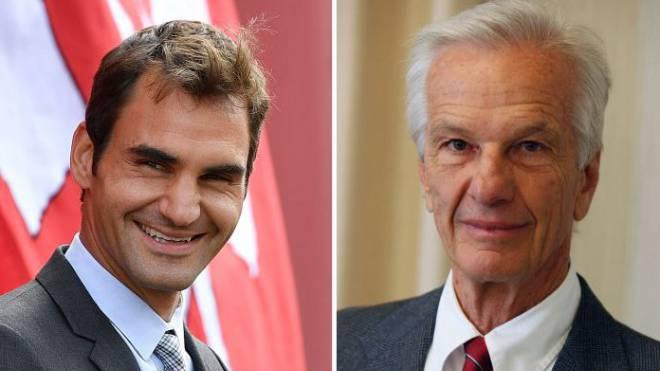 Roger Federer (links) und Jorge Lemann. Foto: Keystone, HO