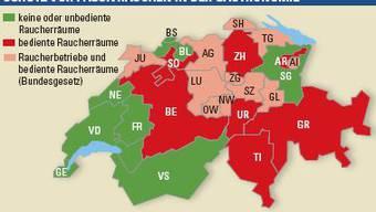 Karte Raucherräume in der Schweiz