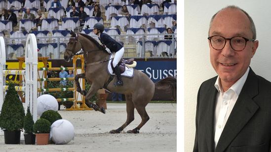 Janika Sprunger 2013 in Genf auf Aris CMS, einem der neun millionenteuren Pferde von Georg Kähny (rechts).