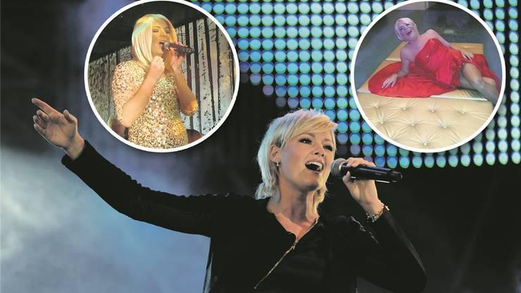 Die Ähnlichkeit ist frappant: Die echte Helene Fischer singt in schwarz, während es das Basler Pendant golden und rot mag.zVg/Chris Iseli/