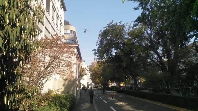 Helikopter-Flug in der Basler Innenstadt