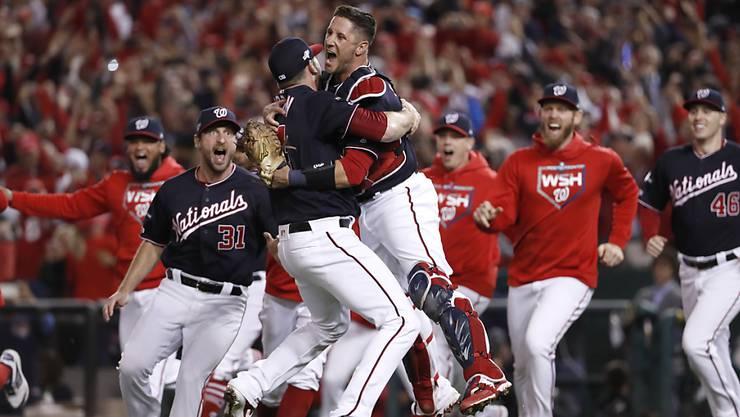 Die Freude bei den Spielern der Washington Nationals über das Erreichen der die World Series ist gross