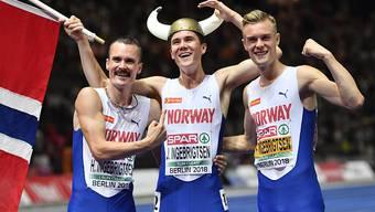Die Ingebrigtsen-Brüder mit dem Sieger Jakob in der Mitte
