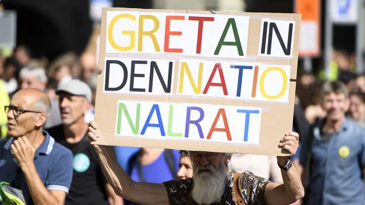 Manche Demonstranten schlagen Greta Thunberg als Nationalrätin vor. (zvg / keystone)