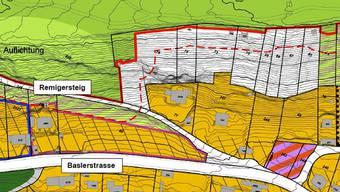 Teilgebiet Ost: Die Gebiete am Bruggerberg (weisse Parzellenflächen) werden der Naturschutzzone zugewiesen.