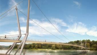 An den filigranen Tragseilen des Rheinstegs werden zum Schutz der Vögel wohl Wimpel angebracht.