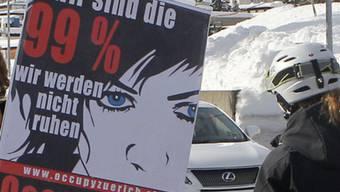 Ein Plakat von Occupy WEF in Davos