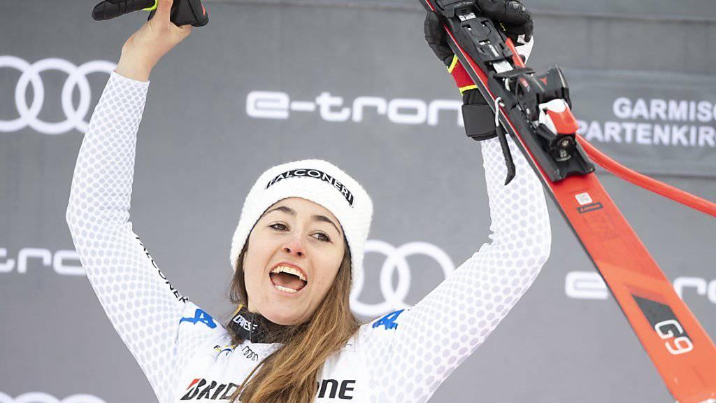 Die Abfahrts-Olympiasiegerin Sofia Goggia ist nach ihrem Knöchelbruch zurück auf dem Podium