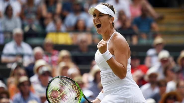 Nach einem Winner schreit Belinda Bencic ihre Freude heraus.