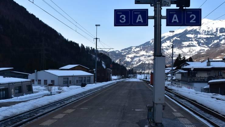 Der Unfallort auf dem Bahnhof in Schiers, wo sich die 17-Jährige schwere Beinverletzungen zuzog.