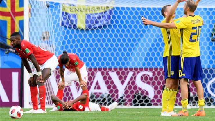 Grenzenlose Ernüchterung: An der WM verliertdie Schweiz den Achtelfinal gegen Schweden 0:1.Laurent Gillieron/Key
