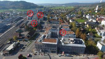 Zwischen dem «Pfister»-Kreisel (unten) und dem «Kreuz»-Knoten wurde viel gebaut 1 «Suhre-Park», 2 «AtriumS», 3 «Gleis 1» und 4 «Suhrportal»..