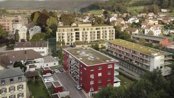 Das Alterszentrum Klostermatte (gelb, in der Bildmitte) erhält auf Stadtseite einen Anbau. Visualisierung zvg