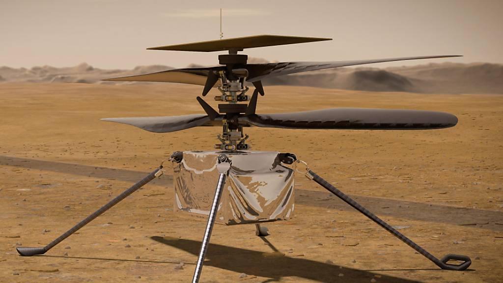 Eine Illustration des Mars-Helikopters «Ingenuity»: Am Montag hat er den ersten Flug eines Hubschraubers auf einem anderen Planeten absolviert.