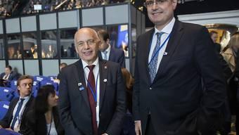 Bundespräsident Maurer und Nationalbank-Chef Jordan nahmen an der Plenarsitzung der IWF-Jahrestagung in Washington teil. (Bild vom 18. Oktober)