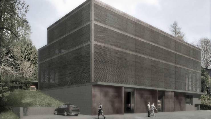 Visualisierung der geplanten Heizzentrale beim Werkhof Eschenbach.
