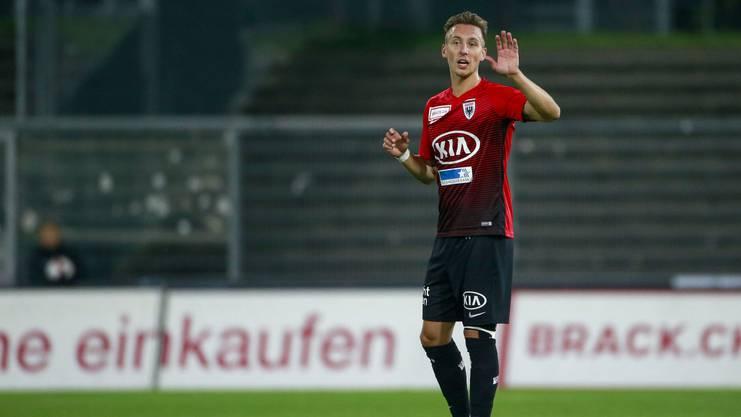 Nicolas Bürgy dirigiert die Abwehr des FC Aarau
