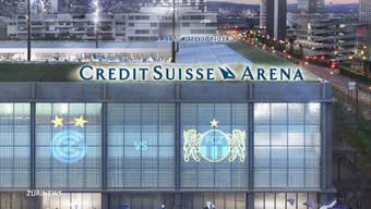 Die Grossbank Credit Suisse sichert sich die Namensrechte für das geplante Fussball-Stadion. Wie viel die Bank dafür bezahlt, ist nicht bekannt. Obwohl das Stadion erst in drei Jahren stehen soll, profitieren die beiden Vereine GC und FCZ schon jetzt.