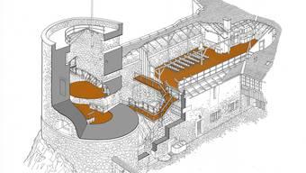 Der polnische Historienmaler Robert M. Jurga hat die mögliche Um- und Einbauten (braun) für das Schloss Alt Falkenstein skizziert. Der grosse Estrich könnte zum Saal für öffentliche Veranstaltungen umgebaut werden.