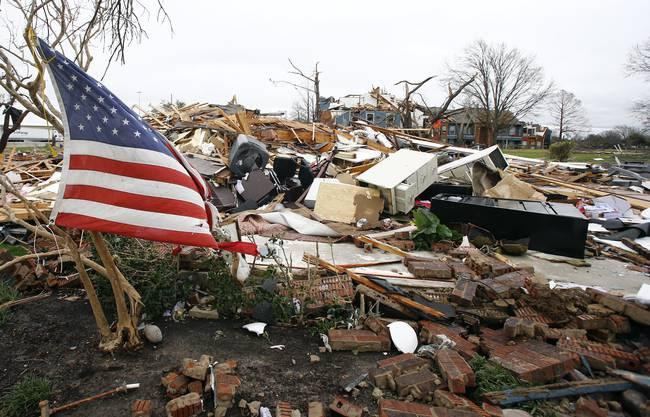 Ein zerstörtes Haus in Garland, Texas.