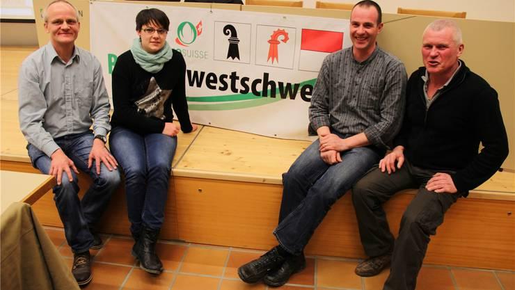 Der Vorstand von Bio Nordwestschweiz (von links): Präsident Felix Lang (Lostorf), die neu gewählten Rahel Sprunger (Bubendorf) und Patrik Birrer (Duggingen) sowie Vizepräsident Paul Nussbauer (Aesch).