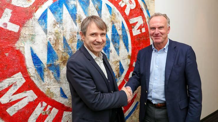 FCB-Präsident Bernhard Burgener mit dem Vorstandsvorsitzenden des FC Bayern München: Karl-Heinz Rummenigge