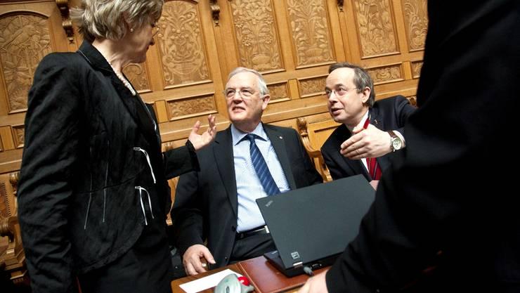 Hans Rudolf Gysin (Mitte) tritt bei den Wahlen 2011 nicht mehr an. Die FDP Baselland will seinen Sitz ohne Listenverbindungen mit den grossen Parteien verteidigen.