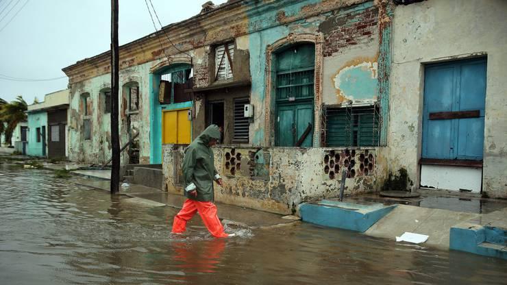 Hochwasser auf Kuba durch das Vorbeiziehen des Wirbelsturms Irma