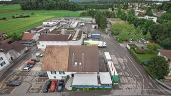 Das Marti-Areal (heute Centravo, hinten) mit dem Restaurant Pflug im Vordergrund.