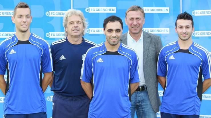 (v.l.n.r.) Adrien Rawyler, Max Rüetschli (Trainer), Ibrahim Hajdini, Peter Baumann (Sportlicher Leiter) und Harun Mustafa.