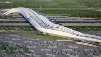 Der spektakuläre Bahnhof von Zaha Hadid in Afragola bei Neapel ist - wieder einmal - eingeweiht worden. Ganz fertig wird er erst 2022. (Bild Handout)